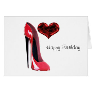 Red Stiletto Shoe and 3D Heart Greeting Card