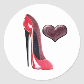 Red Stiletto Shoe and Heart Classic Round Sticker