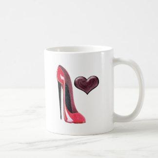 Red Stiletto Shoe and Heart Basic White Mug