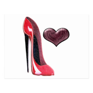 Red Stiletto Shoe and Heart Postcard