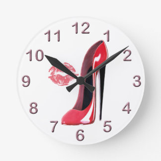 Red Stiletto Shoe and Kiss Art Clock