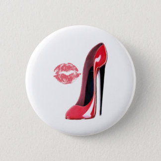 Red Stiletto Shoe and Kiss Pinback Button