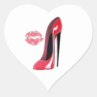 Red Stiletto Shoe and Lips Art Heart Sticker