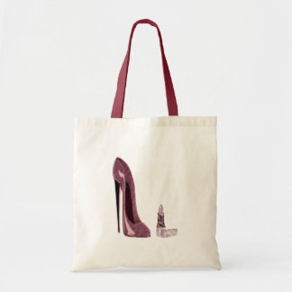 Red Stiletto Shoe and Lipstick Budget Tote Bag