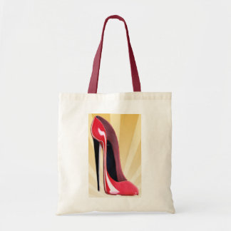 Red stiletto shoe and starburst budget tote bag