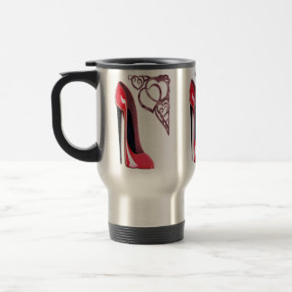 Red Stiletto Shoe and Swirl Hearts Stainless Steel Travel Mug