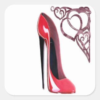 Red Stiletto Shoe and Swirl Hearts Square Sticker