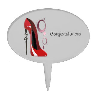 Red Stiletto Shoe Art and Bangles Cake Topper