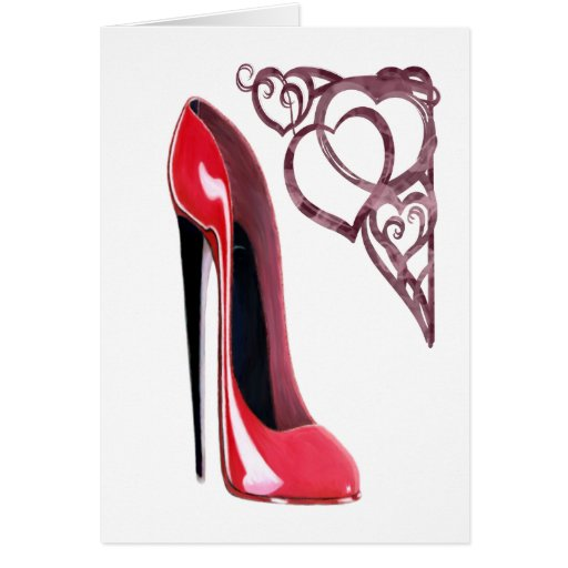 Red Stiletto Shoe Art and Heart Swirls Greeting Cards