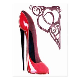 Red Stiletto Shoe Art and Heart Swirls Post Card