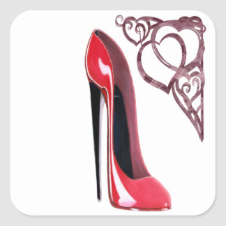 Red Stiletto Shoe Art and Heart Swirls Square Sticker