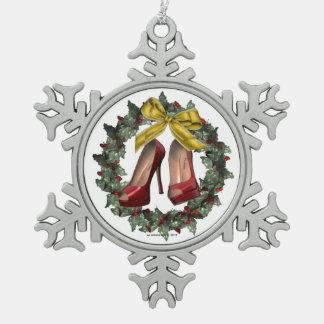 Red Stiletto Shoe Pewter Snowflake Ornament