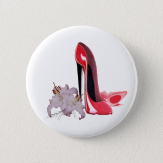 Red Stiletto Shoes and Lilies Button