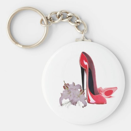 Red Stiletto Shoes and Lilies Keychain