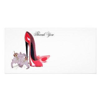 Red Stiletto Shoes and Lilies Thank You Photo Card
