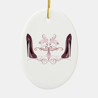 Red stiletto shoes art ceramic ornament