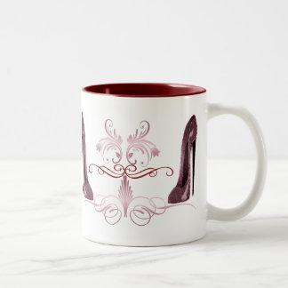 Red stiletto shoes art Two-Tone mug