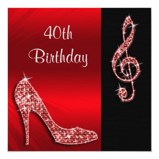 Red Stiletto & Treble Cleft 40th Birthday Card