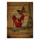 red Stilettos eiffel tower paris bridal shower Personalized Announcement