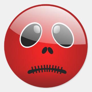 Red Stitch Doll Head Classic Round Sticker