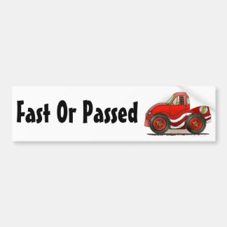 Red Stock Car Fast Or Passed Bumper Sticker