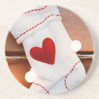 Red stocking drink coaster