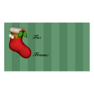 Red Stocking Holiday Gift Tags Business Card