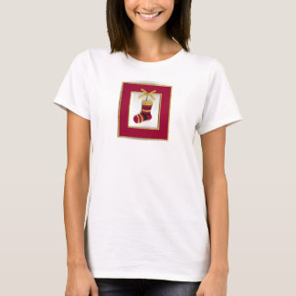 Red Stocking Hung With Care in Red & Gold Frame T-Shirt