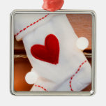 Red stocking square metal christmas ornament