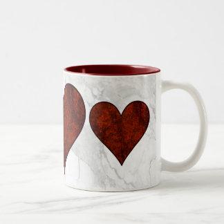 Red Stone Heart Two-Tone Coffee Mug