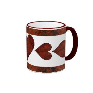 Red Stone Hearts Coffee Mugs