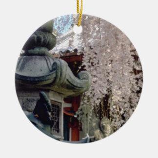 Red Stone lanterns, pink blossom, Nara, Sakura flo Christmas Tree Ornament