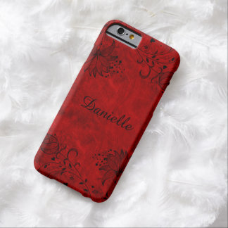 Red Stone Look Black Floral Monogram Barely There iPhone 6 Case
