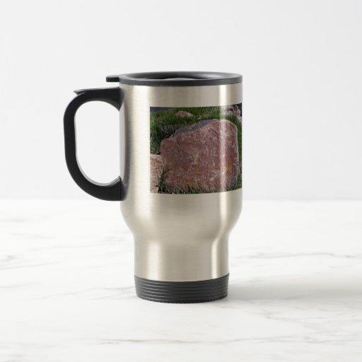 Red Stone on Rocky Green Landscape Coffee Mug