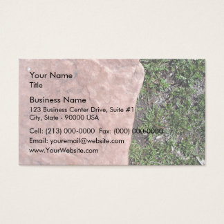 Red Stone Rock Isolated In Green Landscape Business Card
