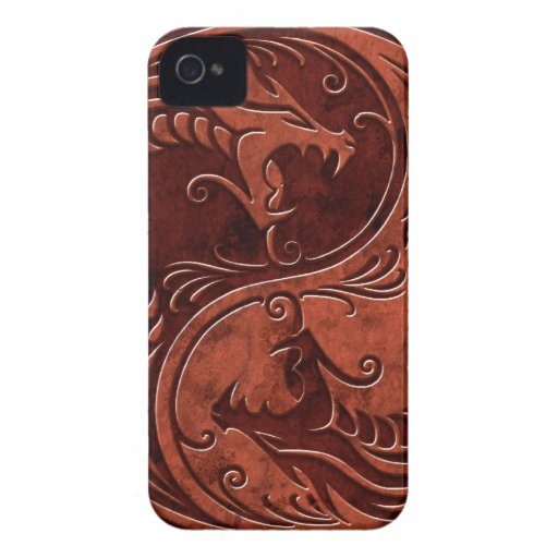 Red Stone Yin Yang Dragons Blackberry Bold Cases
