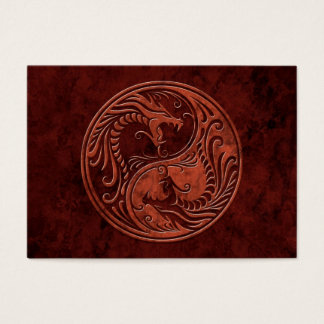 Red Stone Yin Yang Dragons Business Card