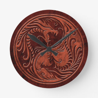 Red Stone Yin Yang Dragons Round Clock