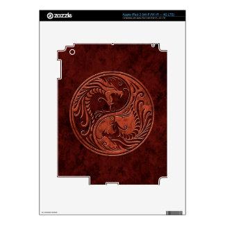 Red Stone Yin Yang Dragons Skins For iPad 3