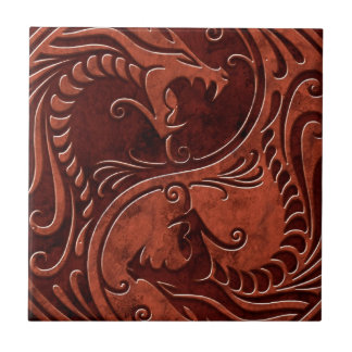 Red Stone Yin Yang Dragons Small Square Tile