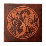 Red Stone Yin Yang Phoenix Ceramic Tile