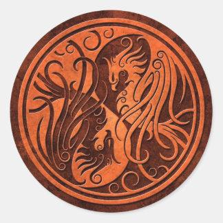 Red Stone Yin Yang Phoenix Classic Round Sticker