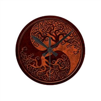 Red Stone Yin Yang Tree Round Clock