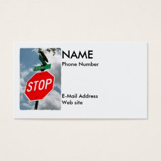 Red Stop Sign on Main Street Business Card
