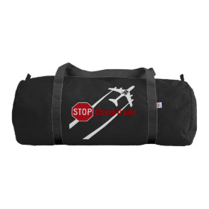 Red Stop Sign Plane White Chemtrails Skull Bones Gym Bag