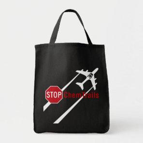 Red Stop Sign Plane White Chemtrails Skull Bones Tote Bag