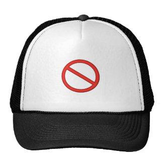 RED STOP SYMBOL WARNING GRAPHIC TRUCKER HAT
