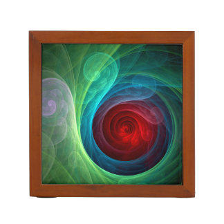 Red Storm Abstract Art Desk Organizer