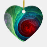 Red Storm Abstract Art Heart Ornament