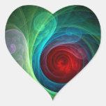 Red Storm Abstract Art Heart Sticker